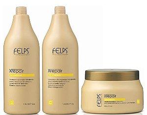 Felps - Xrepair Kit Profissional Shampoo, Condicionador e Máscara Bio Molecular Grande