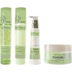 Left - Fruit Therapy Nano Lima da Pérsia Kit Completo (Shampoo 275ml + Condicionador 275ml + Máscara 250g + Leave in 160ml)