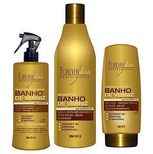 Forever Liss - Banho de Verniz Kit Shampoo 500ml, Queratina 300ml, Leave-in 150ml Reconstrução