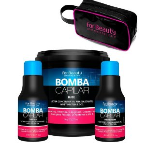 For Beauty - Bomba Capilar Kit Shampoo 300ml, Condicionador 300ml e Máscara 1kg + BRINDE Bolsa