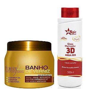 Kit Banho de Verniz 250g Forever Liss + Matizador 3D Mega Red Cabelos Vermelhos 500ml Magic Color