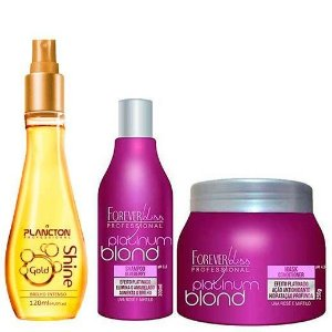 Kit Gold Shine Spray de Brilho Plancton + Platinum Blond Matizador (Shampoo + Máscara Blueberry) Forever Liss