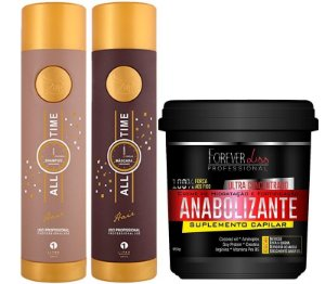 Kit Escova Progressiva ZAP All Time + Fortificante Capilar Máscara Forever Liss 950g