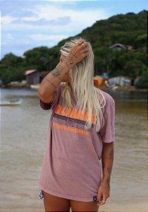 Camiseta marrom claro/laranja neon