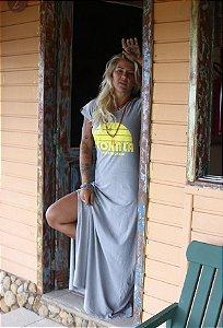 Vestido longo cinza