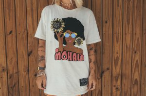 Camiseta Black Power Bege