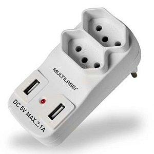 ADAPTADOR DE TOMADA 2 SAIDAS E 2 USB MULTILASER WI331