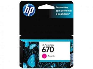 CARTUCHO DE TINTA HP 670 CORES MAGENTA/ AMARELO/CIANO ORIGINAL