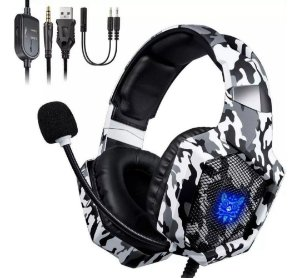HEADSET GAMER ONIKUMA K8 - PS4/XBOX ONE/PC/ANDROID/IOS - CAMUFLADO PRETO