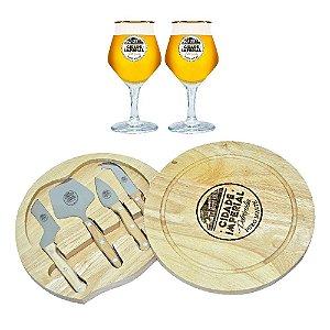 Kit Presente 2 Taças de Cristal Beer Sommelier 430ml + Tábua de Queijos redonda 28cm - Cidade Imperial