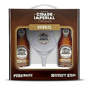 Kit Cidade Imperial com 2 Long Necks Dunkel 355ml e 1 Taça de Cristal Beer Sommelier 430ml