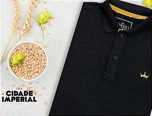 Camiseta Polo Império com Coroa pequena em Alto Relevo - Preta