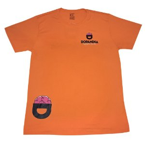 "Camiseta MASCULINA Dry Fit ""Furadinha"" Laranja - Dopamina"