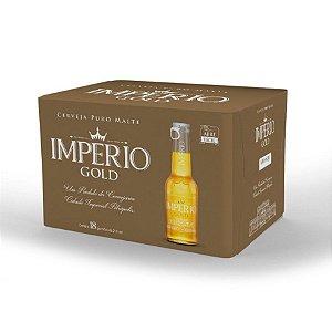 Cerveja Império Gold Puro Malte Long Neck 210ml com tampa abre fácil caixa com 18