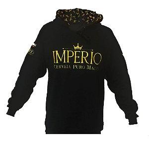 Blusa Moletom Império com logo bordado e capuz personalizado - PRETO