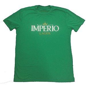 Camiseta MASCULINA Cerveja Império Lager verde com logo estampado