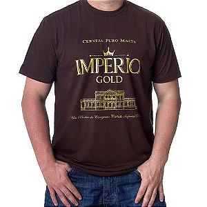 Camiseta MASCULINA Cerveja Império Gold Marrom