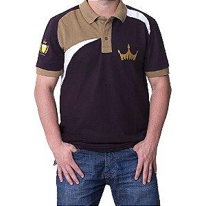 Camiseta MASCULINA Polo Império Gold com Detalhes - MARROM ESCURO