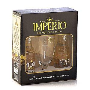Kit Império Gold com 2 Long Necks Império Gold e 1 Taça de Cristal Império 320ml