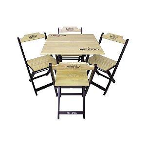 Conjunto Mesa com 4 Cadeiras Dobrável de Madeira Premium Império - 70 x 70cm