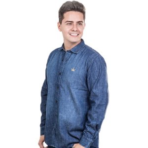 Camisa Jeans Império com Logo Bordada