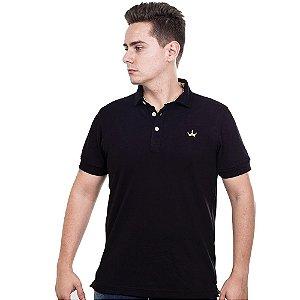 Camiseta Polo Império com Coroa Bordada - Preta