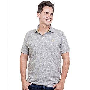 Camiseta Polo Império com Coroa Bordada - Cinza Claro