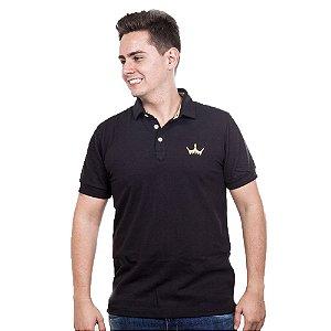 Camiseta Polo Império com Coroa em Alto Relevo - Preta