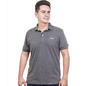 Camiseta Polo Império com Coroa em Alto Relevo - Cinza