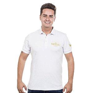 Camiseta Polo Império Gold em Alto Relevo - Branca