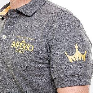Camiseta Polo Império Gold em Alto Relevo - Cinza