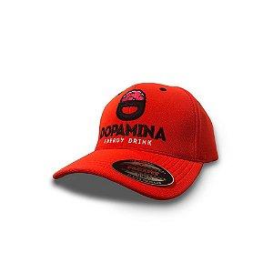 Boné Dopamina Energy Drink Flexfit Laranja com Logo na Frente