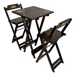 Conjunto Mesa com 2 Cadeiras Bistrô Dobrável de Madeira Imbuia - 50 x 50cm