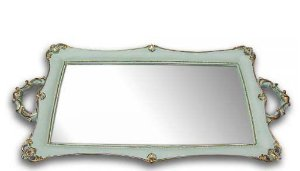 Bandeja Retangular Espelho G - Azul e Dourado
