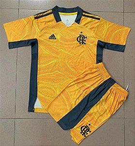 Conjunto Infantil (Camisa + Shorts) Flamengo 2021 (Goleiro-Uniforme 1)