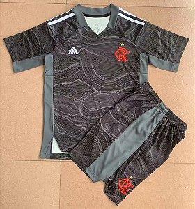 Conjunto Infantil (Camisa + Shorts) Flamengo 2021 (Goleiro-Uniforme 2)