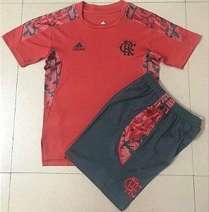 Conjunto Infantil (Camisa + Shorts) Flamengo 2021 (treino-vermelho)