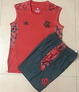 Conjunto Infantil (Camisa regata + Shorts) Flamengo 2021 (treino-vermelho)