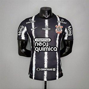 Camisa Corinthians 2021-22 (Uniforme 2) - Modelo Jogador (com patrocínios)