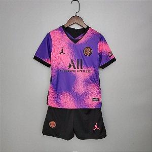 """Conjunto Infantil (Camisa + Shorts) Paris Saint Germain """"PSG"""" 2020-2021 (Fourth-Uniforme 4)"""