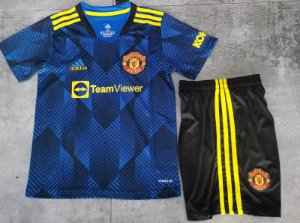 Conjunto Infantil (Camisa + Shorts) Manchester United 2021-2022 (Third-Uniforme 3)