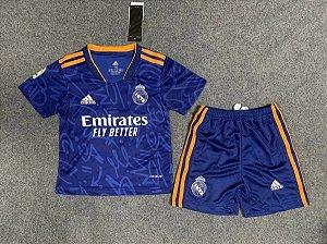 Conjunto Infantil (Camisa + Shorts) Real Madrid 2021-22 (Away-Uniforme 2)