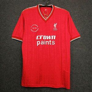 Camisa Liverpool 1985-1986 (Home-Uniforme 1) Comemorativa  Conquistas FA Cup e Campeonato Inglês