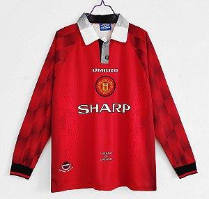 Camisa Manchester United 1996-1997 (Home-Uniforme 1) - Manga Longa