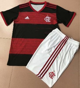 Conjunto Infantil (Camisa + Shorts Branco) Flamengo 2020 (Home-Uniforme 1)