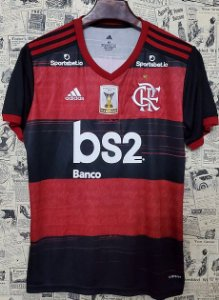 """Camisa Flamengo 2020 """"Com patch de Campeão Brasileirão 2019"""" (Uniforme 1) - Modelo Torcedor (com todos patrocínios)"""