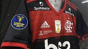 """Camisa Flamengo """"Supercopa do Brasil 2020"""" (Uniforme 1) - Modelo Torcedor (com todos patrocínios)"""