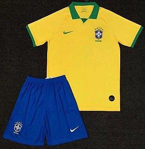 Conjunto Infantil (Camisa + Shorts) Brasil 2019 (Home-Uniforme 1)