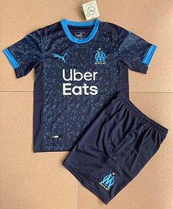 Conjunto Infantil (Camisa + Shorts) Olympique Marseille 2020-2021 (Away-Uniforme 2)