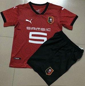 Conjunto Infantil (Camisa + Shorts) Rennes 2020-2021 (Home-Uniforme 1)